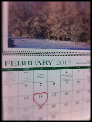 February 14 Valentines Day 2012 Calendar